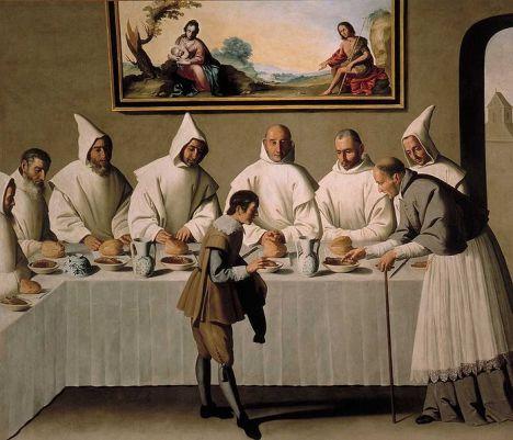 -Sant'Ugo nel Refettorio (F.Zurbaran, Museo Belle Arti Siviglia)