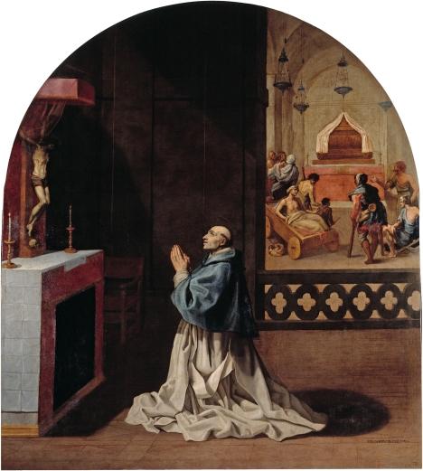 Il padre Bernardo prega nella certosa di Portes