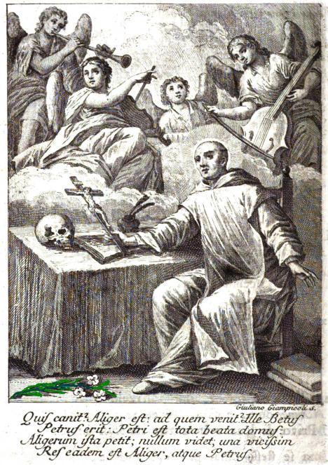 Angeli musici suonano e cantano lodi udite dai confratelli provenire dalla cella del beato Petroni