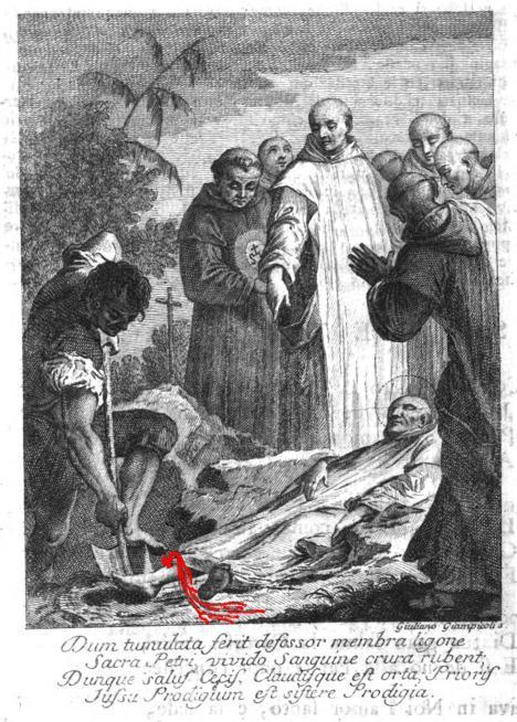 Dissepoltura dopo sessant'anni dalla sua morte e prodigioso sanguinamento davanti a Bernardino da Siena ed i suoi confratelli
