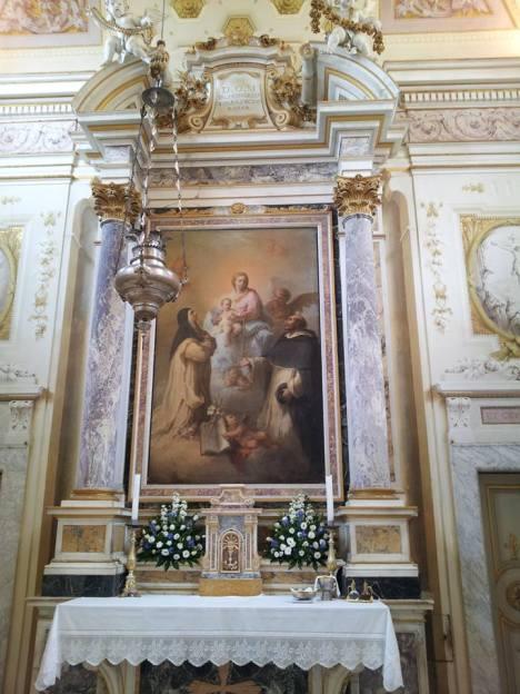 "Madonna del Rosario con San Domenico e Santa Rosellina"". (Giuseppe Maria Terreni)"