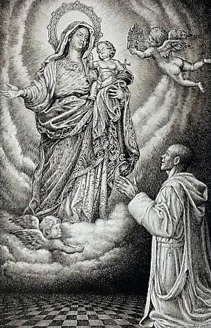 certosino in adorazione alla Vergine