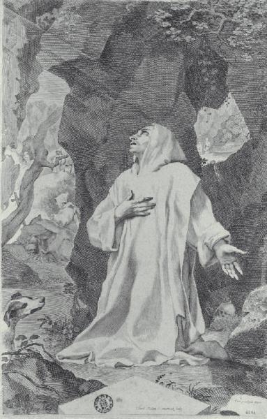 Mellan Claude bruno in preghiera